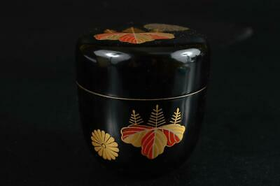 S6098: Japanese Wooden Lacquer ware TEA CADDY Natsume Chaire Container