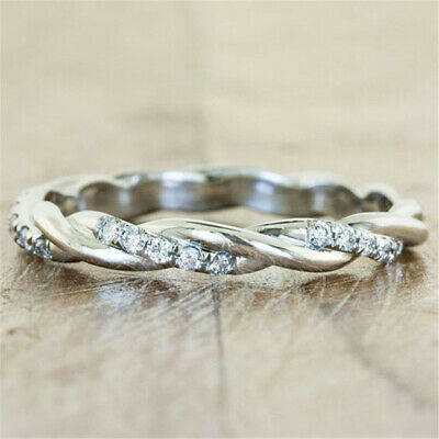 Charm White Topaz 925 Silver Infinity Band Ring Women Wedding Engagement Sz7