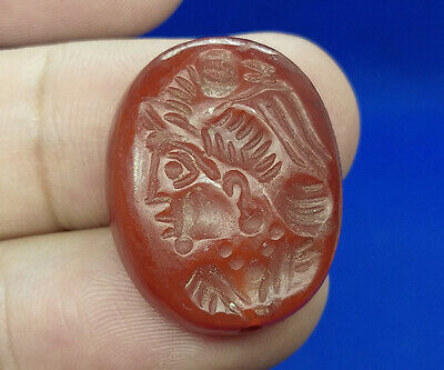 Agate Red Stone Intaglio King Warrior Head Bird Seal Wax Cabochon Bead BCD53