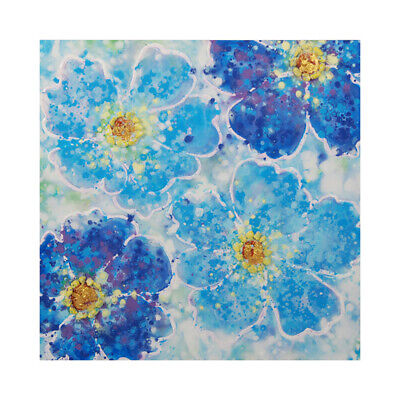 100% Hand Painted Canvas Oil Painting Wall Art Home Decor Framed Blue Flowers