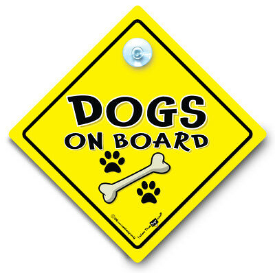 Dogs On Board Sign, Dogs On Board Car Sign, Suction Cup Sign, Dog Vehicle Sign