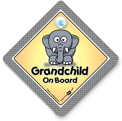 Grandchild On Board Car Sign, ELEPHANT, Baby On Board Sign, Suction Cup Sign