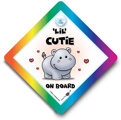 Little CUTIE on Board Hippo Car Sign, Baby On Board Sign, Suction Cup Sign