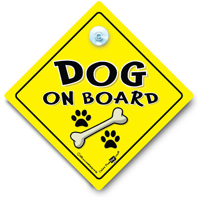Dog On Board Car Sign, Dog in Car, Bones and Paws, Suction Cup Sign, Dog Sign