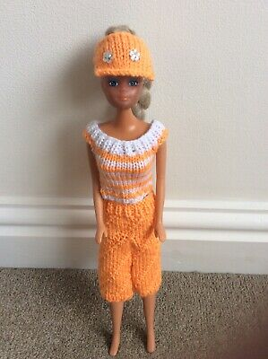 Hand Knitted Barbie Clothes - Orange And White Top, Shorts And Visor