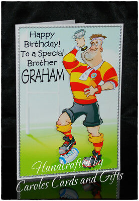 Rugby Fan Dad Son Brother Uncle Rugby Personalised BIRTHDAY CARD for Him