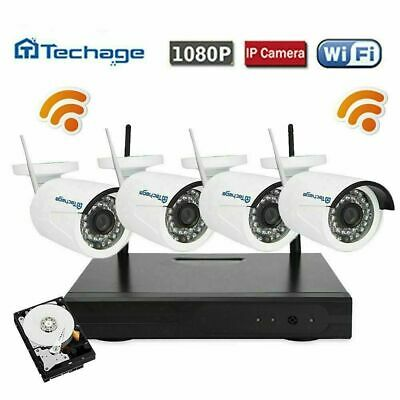 Techage 4CH Wireless 1080P NVR 2.0MP HD Camera Home Security CCTV System+1TB HDD