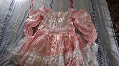 Sissy~Maids~Adult Baby~Unisex~Cd/Tv~Fetish Pink Satin And White Lace Dress