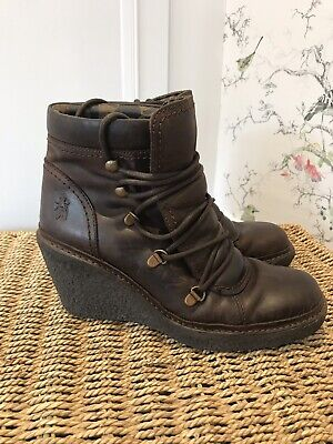 Fly London Brown Wedge Boots Size 5