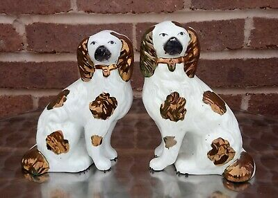Antique Rare C1880 Pair Of Staffordshire Legs Free Copper Luster Seated Spaniels