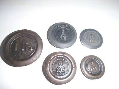 VINTAGE CAST IRON SCALE WEIGHTS JOB LOT ! 1LB, 8oz x 2 & 4ox x2