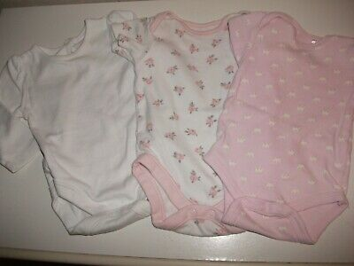 Baby Girls 2 Short & 1 Long Sleeved Vests - Age 0-3 Months