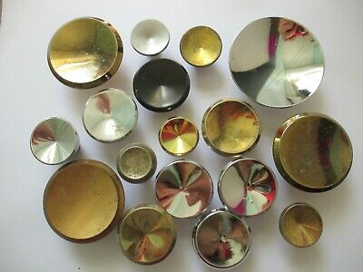 Lot of 17 Vintage MCM Round Concave Drawer Knobs Brass Chrome Gold Mid Century