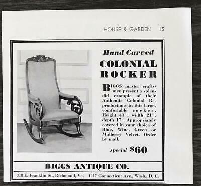1936 Biggs Antique Co. Richmond VA and DC Print Ad Hand Carved Colonial Rocker