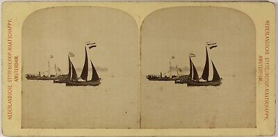 Voiliers La Mer Photo Stereo Amsterdam Pays-Bas Vintage Albuminec1890