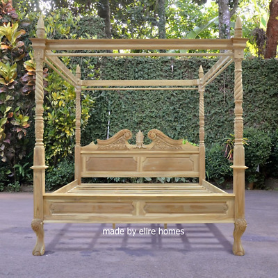 5' King Size 100% TEAK WOOD  Four poster canopy chippendale Queen Anne Bed