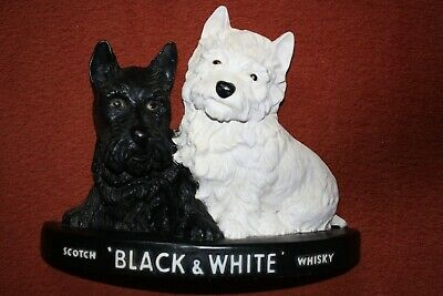 Vintage Black and White Whisky Scotty Dogs Advertising Figurine Rubber Plastic