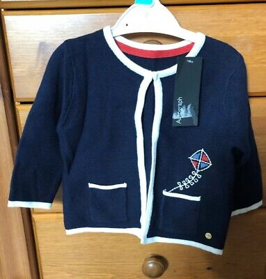M&S Autograph Baby Knitted Cardigan 3-6 Months - Navy With Kite Motif