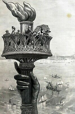 Statue of Liberty 1885 Proposed TORCH on BEDLOE'S ISLAND Matted Engraving Print