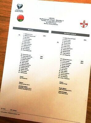 Belarus - Northern Ireland teamsheet 11/06/19