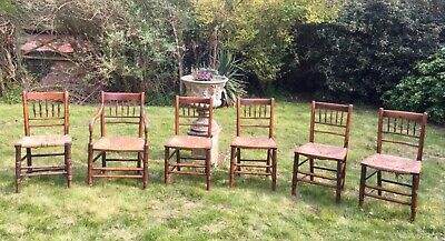 Six Antique Country Spindle Back Chairs - Original early 1800's