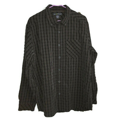 Exofficio Plaid Shirt XL Extra Large Black Brown Button-Front Long Sleeves