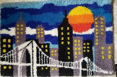 "Vintage Brooklyn Bridge Latch Hook Rug New York City Sunset 24"" x 36"""