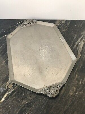 Antique Arts & Crafts hand beaten Pewter hammered tray Sheffield Craftsman