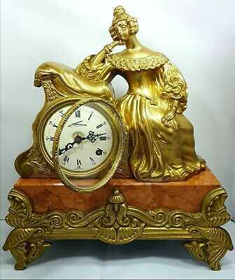 Vintage Lancini Italy Brass & Red Marble Franz Hermle FHS Mantle Mantel Clock