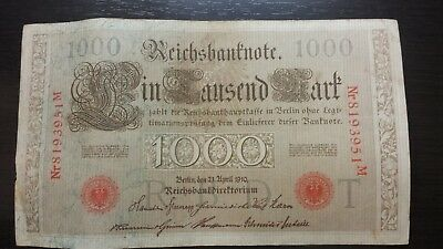 1910 German Empire 1000 Mark RiechBanknote - RED SEAL. Pair Consecutive #