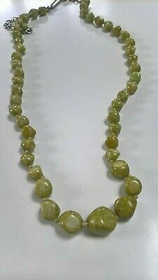 Vintage  Green Connemara Marble Graduated Glass Bead Necklace