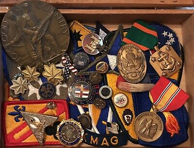 Huge Vtg Junk Drawer Lot Military Pin, Patches, Medals, Masonic  More