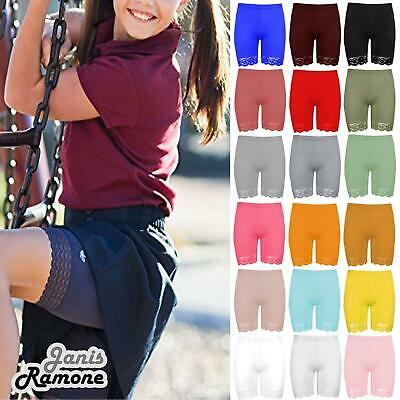 New Girls Kids Plain Lace Trim Viscose Dance Active Tights Summer Cycling Shorts