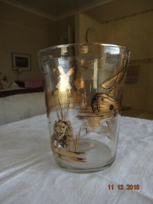 18th century large gilded glass tumbler-dutch? exceptionally rare