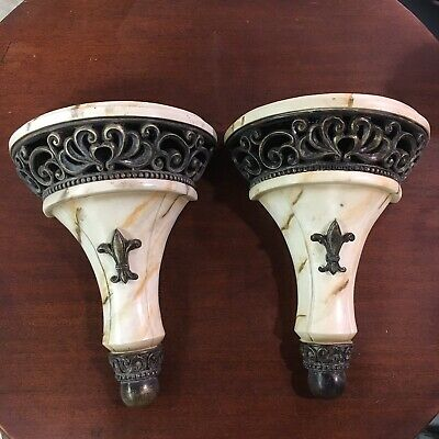 Pair Fleur De Lis Wall Sconce Shelf Ivory French New Orleans Marble Style Ornate