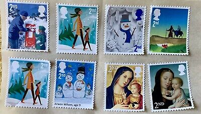 50 2Nd Second Class Stamps Xmas Unfranked Security Off Paper Full Gum F/V £30.50