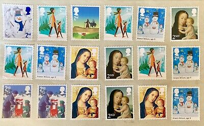 30 Second 2Nd Class Stamps Xmas Unfranked Security Off Paper Full Gum F/V £18.30