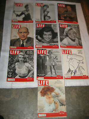 LIFE MAGAZINE 10 Vintage ISSUES 1952 GREAT ADS SCRAPBOOKING MARCH JUNE JULY AUG.