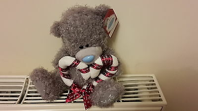Me To You Christmas Tatty Teddy Bear Blue Nose With Candy Cane Heart G01W3940