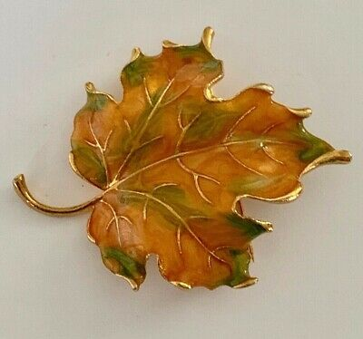 8286687cf Vintage Gold Tone Enamel Autumn Fall Maple Leaf Tree Leaves Brooch Pin  Jewelry