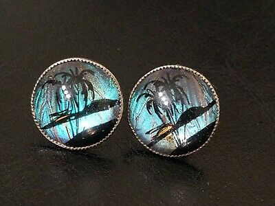 Vintage Sterling Silver Screw Back Iridescent Glass Palm Tree Island Earrings
