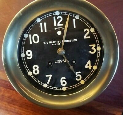 US Maritime Commission Chelsea Ships Bell Clock 6 in black brass dial