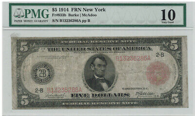 1914 Federal Reserve Note New York $5 Red Seal Pmg Very Good 10