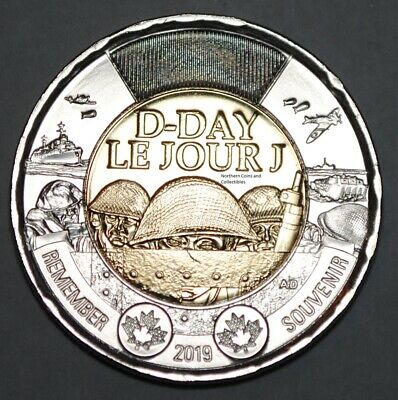 Canada 2019 2 Dollar D-Day BU Canadian Toonie Uncirculated Coin