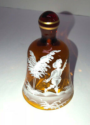 """Amber Glass Hand Painted Bell Mary Gregory 4"""""""