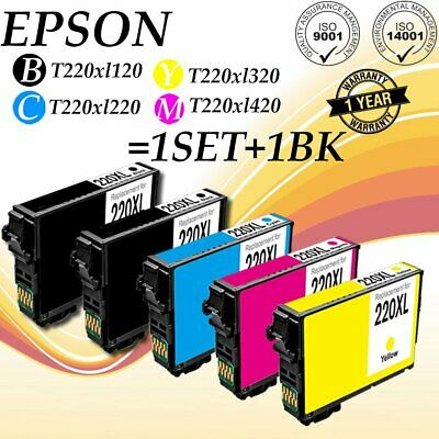 5PACK CMYK for Epson T220XL120/020/320/420 Ink Cartridges Expression WF-2630