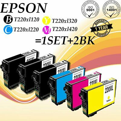 6x For Epson T220XL CMYK Ink Cartridges Expression WF-2630/2650/2660 US STOCK