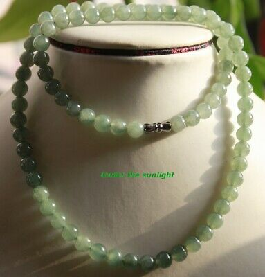 Gemstone Certified Grade A Natural JADE Gorgeous Icy Green Jadeite Necklace N285
