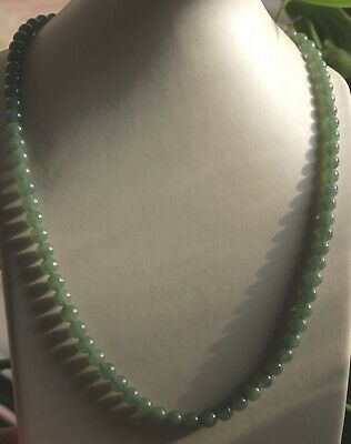 Gemstone Certified Grade A Natural JADE Gorgeous Icy Green Jadeite Necklace N283