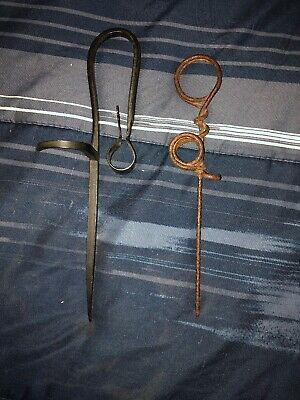 Two VINTAGE IRON MINER'S STICKING TOMMY / TOMMY STICK - CANDLESTICK HOLDER